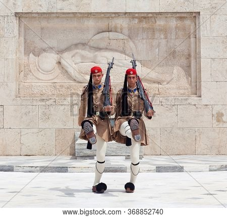 Athens, Greece - May 18, 2019: Changing Of The Guard In Front Of The Tomb Of The Unknown Soldier Whi