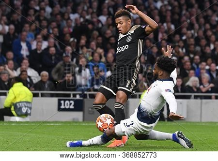 London, England - April 30, 2019: David Neres Campos Of Ajax And Danny Rose Of Tottenham Pictured Du