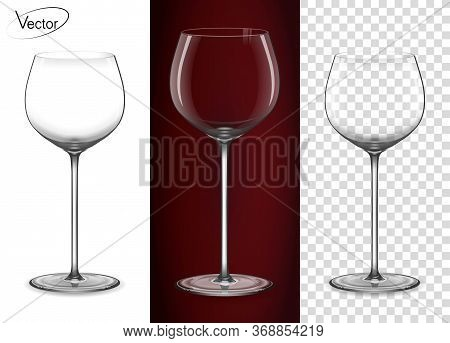 A Glass For Red Wine And Champagne. Empty Glass On A Transparent Background And On A Red Background.