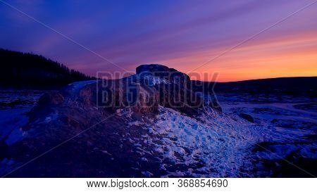 Blue Sunset In The North In Winter