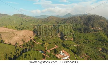 Aerial View Of Drone Tea Plantations In The Vicinity Of The City Of Munnar. Nallatanni Village. Kera