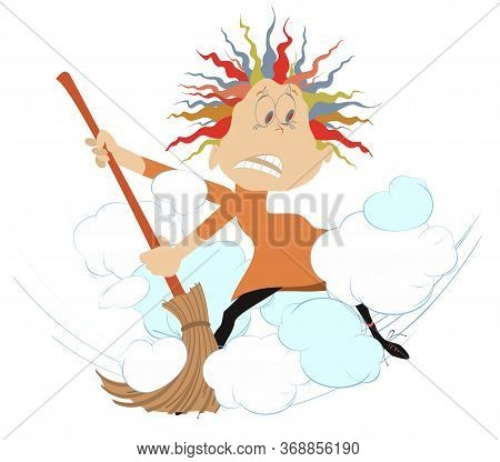 Dust Cloud And Woman With A Big Broom Illustration. Cartoon Woman Sweeps Dust Using A Broom Isolated