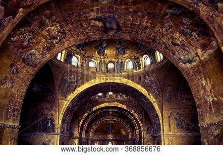 Venice, Italy - May 21, 2017: Interior Of Famous San Marco Or St Mark`s Basilica, It Is Great Old La