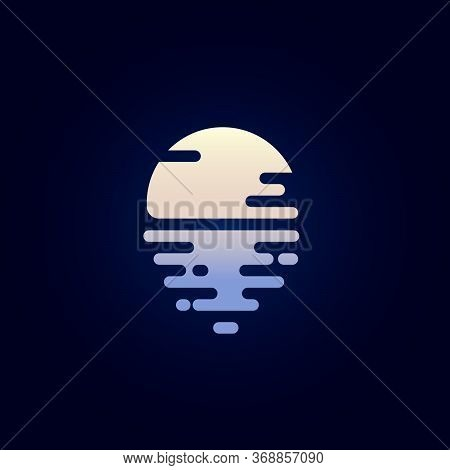 Moon Flat Icon. Moonlight Logo. The Moon And Reflection In The Water. Icon For Spa, Resort Or Hotel
