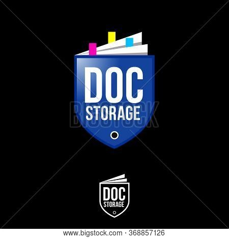 Doc Storage Logo. Shield Like Folder With Paper Documents. Business Papers Templates. Emblem Of Anti