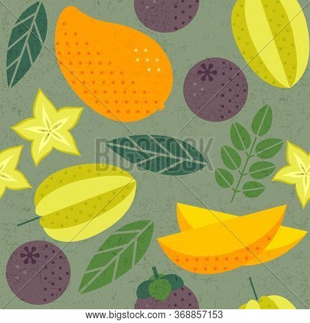 Seamless Pattern. Mango, Carambola (starfruit) And Mangosteens.  Ripe Fruits With Leaves On Shabby B