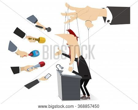 Men Makes A Report Is Controlled By Cords Like Puppet Concept Illustration. Politician Or Businessma