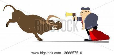 Cartoon Bullfighter Shouts At The Angry Bull Illustration. Cartoon Bullfighter With Matador Cape And
