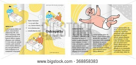 Vector Flat Illustration Brochure Layout On Both Sides. Concept Receiving Children S Osteopathic Doc