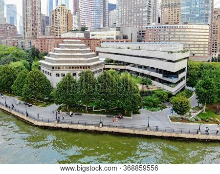 Aerial View Of Museum Of Jewish Heritage In Lower Manhattan. North Of Battery Park On The Hudson Riv