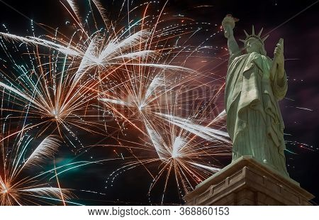 Independence Day Celebration Fireworks 4th Of July On American Statue Of Liberty Explode In A Glorio