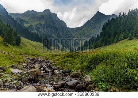 Mountain River Valley Landscape From Romania In Fagaras Mountains (bad Valley)