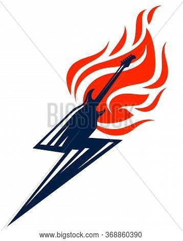 Electric Guitar On Fire In A Shape Of Lightning, Hot Rock Music Guitar In Flames And Bolt, Hard Rock