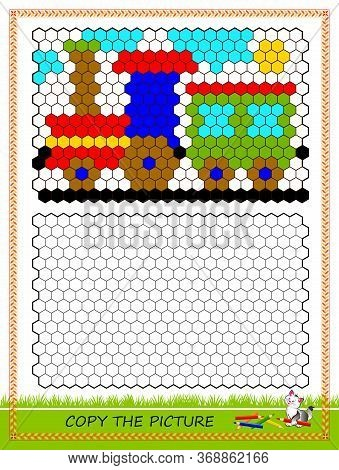 Educational Page For Kids. Copy The Picture. Printable Worksheet For Children School Textbook. Draw