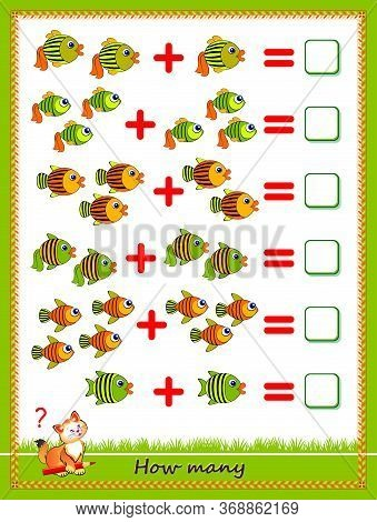 Educational Page For Little Children On Addition. Solve Examples, Count The Quantity Of Fishes And W