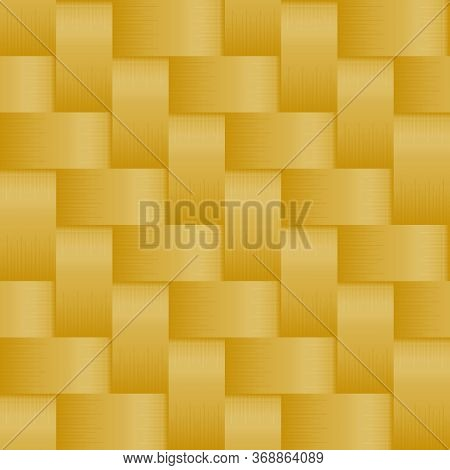 Seamless Pattern With Weave Gold Stripes Ornament. Background In Macro Style. Woven Fiber For Design