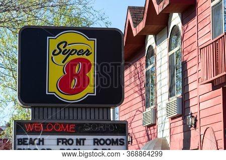 Mackinaw City, Michigan, Usa - May 30, 2020: Exterior Of Super 8 Motel In Mackinaw City, Michigan Is