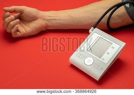 Pressure Meter. Patient Test Hypertension From Medical Sphygmomanometer. Health Monitor For Check Do