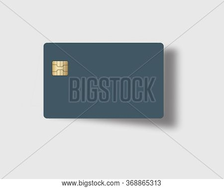 Here Is A Blank Blue Credit Or Debit Card With A Golden Emv Chip. Text Area. Copy Area.  The Card Ca