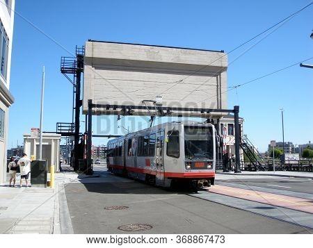 San Francisco - April 18, 2009: T Muni Light-rail Train Crosses 4th Street Bridge In Mission Bay.