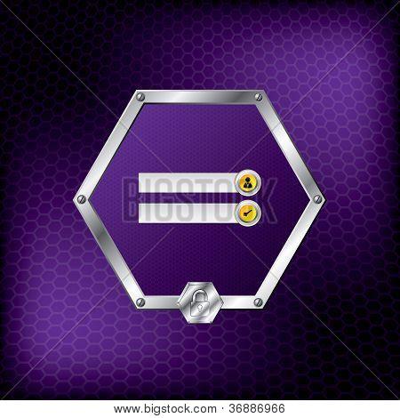 Metallic Hexagon Login Screen Design With Purple Background