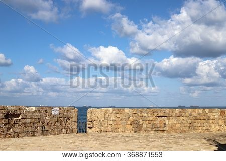Fortress Walls Of The Old City Of Acre. Acre - One Of The Oldest Cities In Northern Israel On The Sh