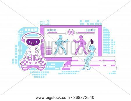 Video Game Bot Thin Line Concept Vector Illustration. Male Gamer Playing With Computer 2d Cartoon Ch
