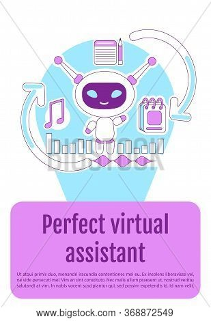 Assistant Bot Poster Flat Silhouette Vector Template. Ai Chatbot Brochure, Booklet One Page Concept
