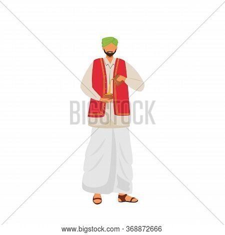 Male Indian Pouring Masala Chai Flat Color Vector Faceless Character. Hindu In Traditional Costume,