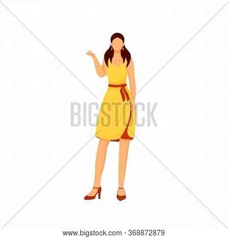 Fashionable Girl Flat Color Vector Faceless Character. Woman In Party Dress. Elegant Outfit For Even