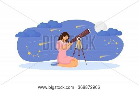 Girl With Telescope Flat Concept Vector Illustration. Woman Search For Constellation 2d Cartoon Char