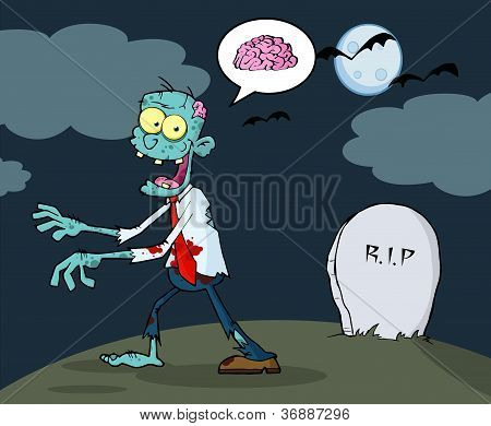 Blue Cartoon Zombie