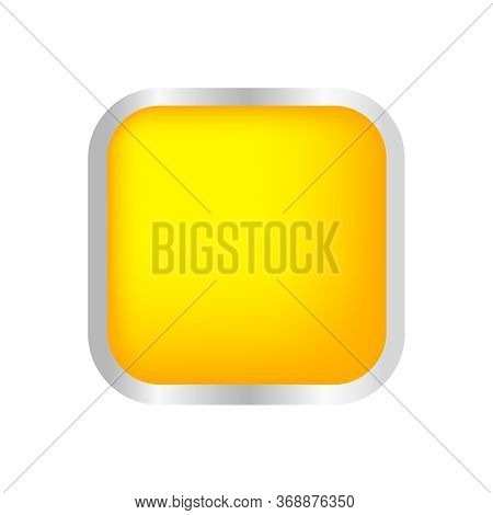 Button Square Shape Yellow For Buttons Games Play Isolated On White, Yellow Buttons Simple And Conve