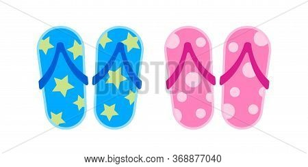 Slippers Pink And Blue Isolated On White, Clip Art Sandal Casual, Fashion Slippers Icon For Summer R