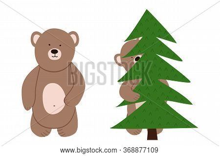 Two Funny Little Bear Vector. Bear Cub Hiding Peeks Out From Behind The Tree.