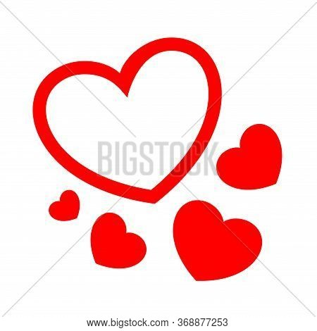 Heart Shape Red Cute Isolated On White, Simple Heart Plain Many For Element Valentine Card, Clip Art