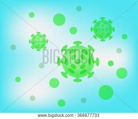 Virus Illustration Green Color, Virus Simple Flat Symbol, Clip Art Virus On Blue Background, Monster