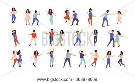 Collection Of Dancing People. Men And Women Performing Dance At School, Studio, Party. Male And Fema
