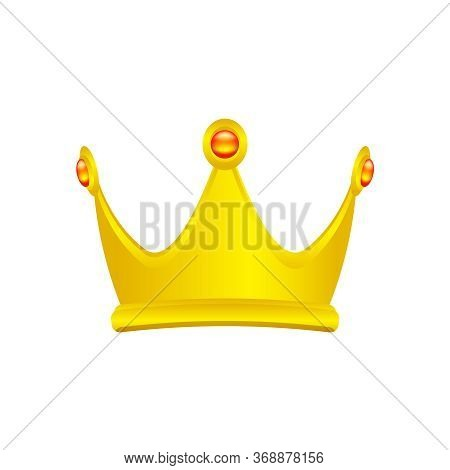 Golden Crown Isolated On White, Circle Crown Gold Icon, Vintage Golden Crown Luxury, Crown Gold Symb