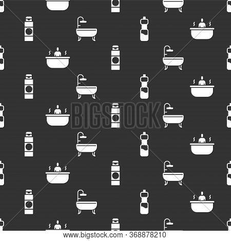 Set Bottle Of Water, Bathtub, Cream Or Lotion Cosmetic Tube And Bathtub On Seamless Pattern. Vector.