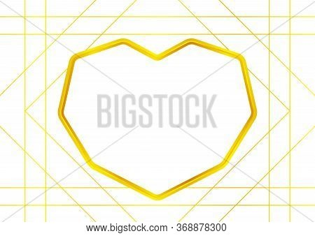 Heart Shape Golden Frame Isolated On White For Copy Space, Luxury Gold Frame With Shaped Heart, Cute