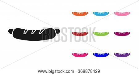 Black Hotdog Sandwich Icon Isolated On White Background. Sausage Icon. Fast Food Sign. Set Icons Col