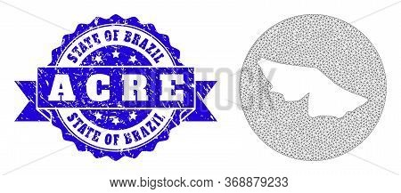 Mesh Vector Map Of Acre State With Grunge Seal Stamp. Triangle Mesh Map Of Acre State Is Subtracted