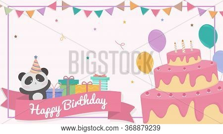 Cute Cartoon Birthday, Animal Card Birthday, Vector Birthday. Birthday Illustration.