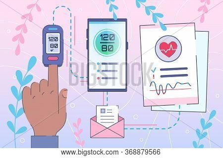Heart Diseases - Healthcare Concept. Blood Pressure Control By Smartphone. Online Diagnosis For Hype