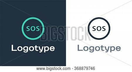Logotype Location With Sos Icon Isolated On White Background. Sos Call Marker. Map Pointer Sign. Log