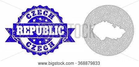 Mesh Vector Map Of Czech Republic With Grunge Watermark. Triangular Mesh Map Of Czech Republic Is Ca