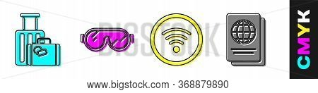 Set Suitcase, Ski Goggles, Wi-fi Wireless Internet Network And Passport Icon. Vector.
