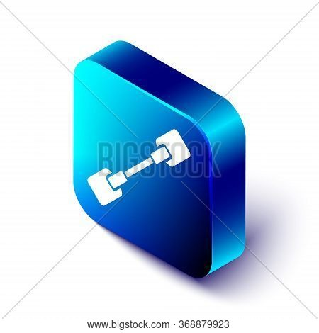 Isometric Paddle Icon Isolated On White Background. Paddle Boat Oars. Blue Square Button. Vector. Il