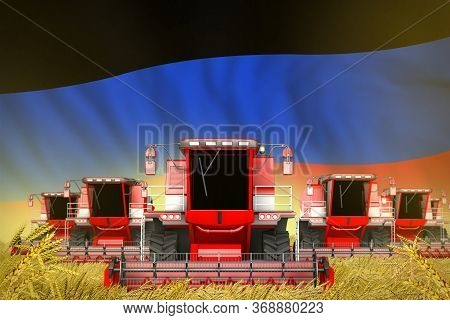 Industrial 3d Illustration Of Many Red Farming Combine Harvesters On Rye Field With Donetsk Peoples